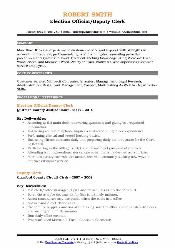 Deputy Clerk Resume Samples Qwikresume