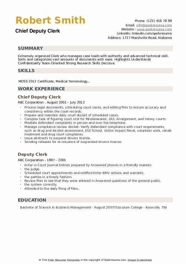 Chief Deputy Clerk Resume Format