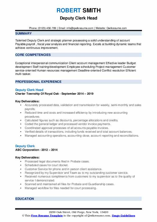 Deputy Clerk Head Resume Model