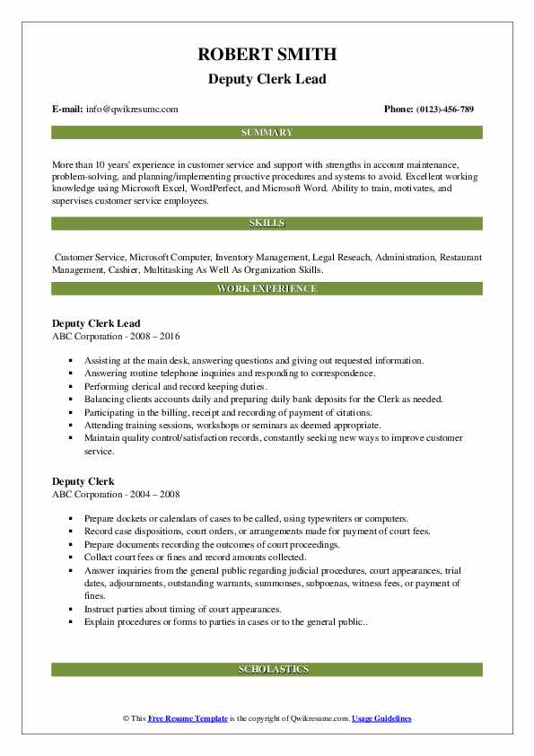 Deputy Clerk Lead Resume Model