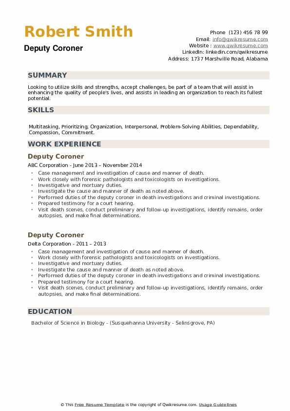 Deputy Coroner Resume example