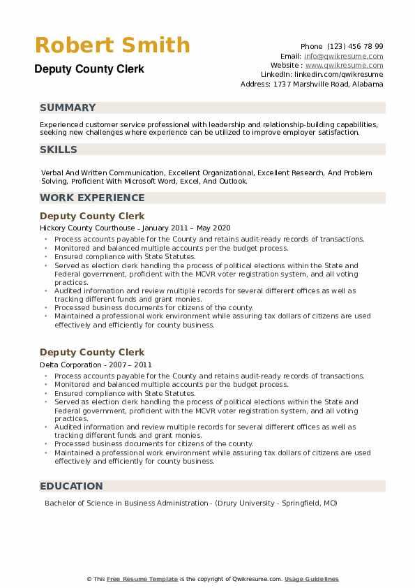 Deputy County Clerk Resume example