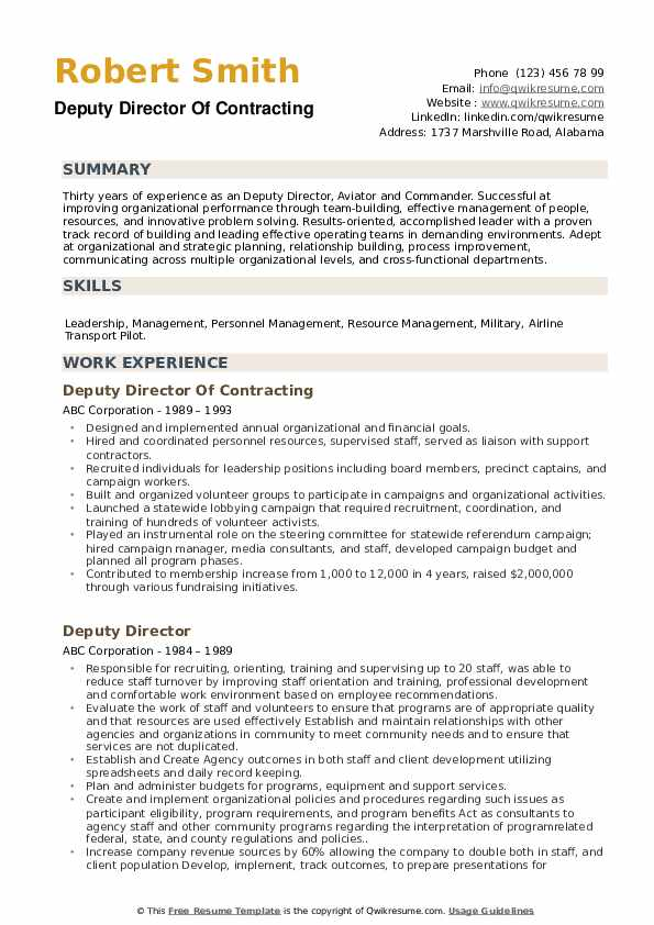 Deputy Director Of Contracting Resume Example