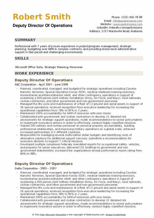Deputy Director Of Operations Resume example