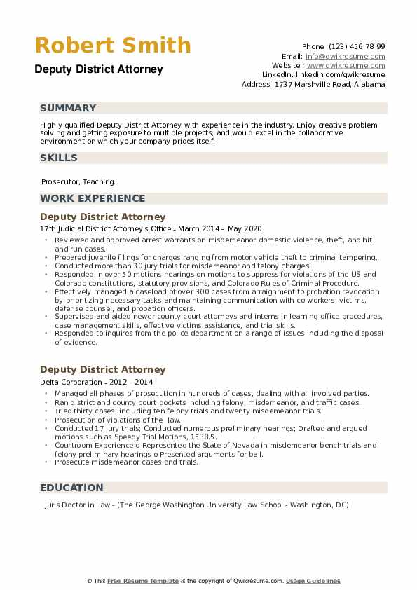Deputy District Attorney Resume example