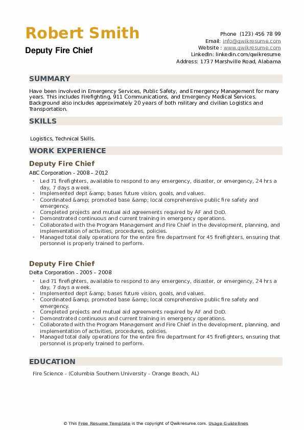Deputy Fire Chief Resume example