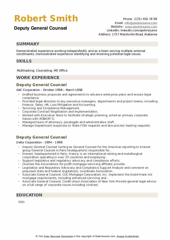 Deputy General Counsel Resume example