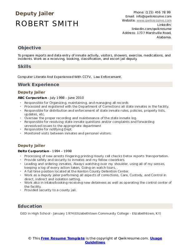 Deputy Jailer Resume Samples Qwikresume