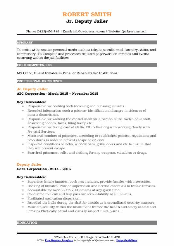 Deputy Jailer Resume example