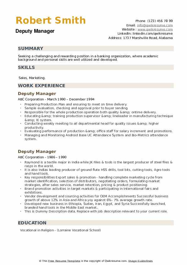 Deputy Manager Resume example