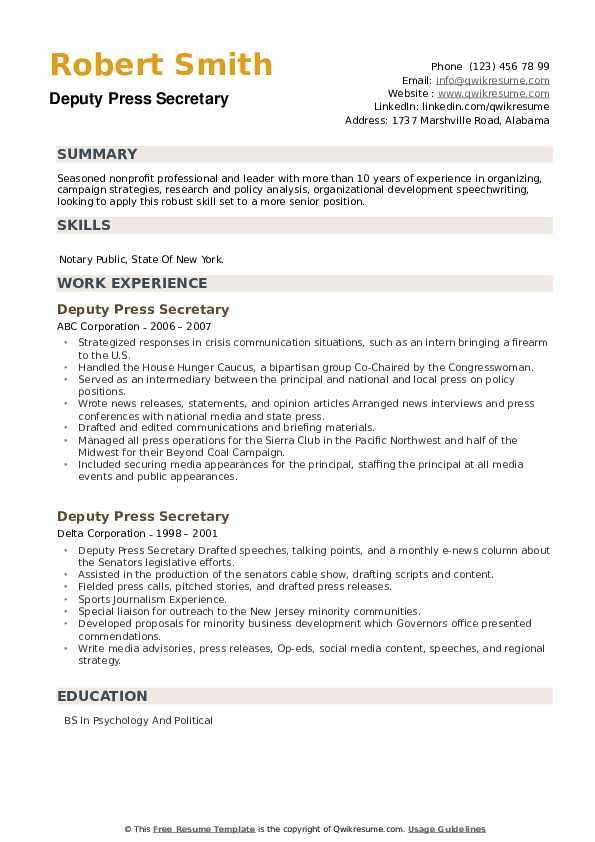 Deputy Press Secretary Resume example