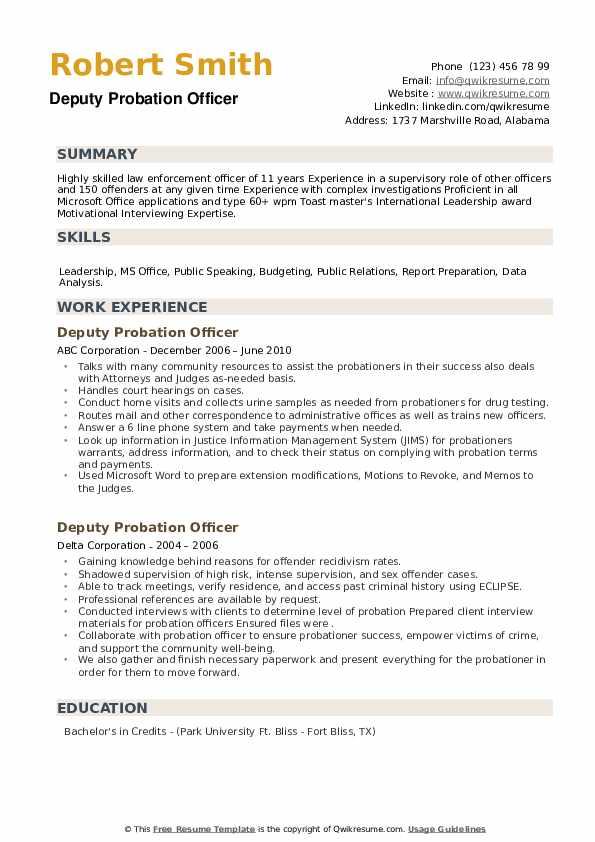 Deputy Probation Officer Resume example