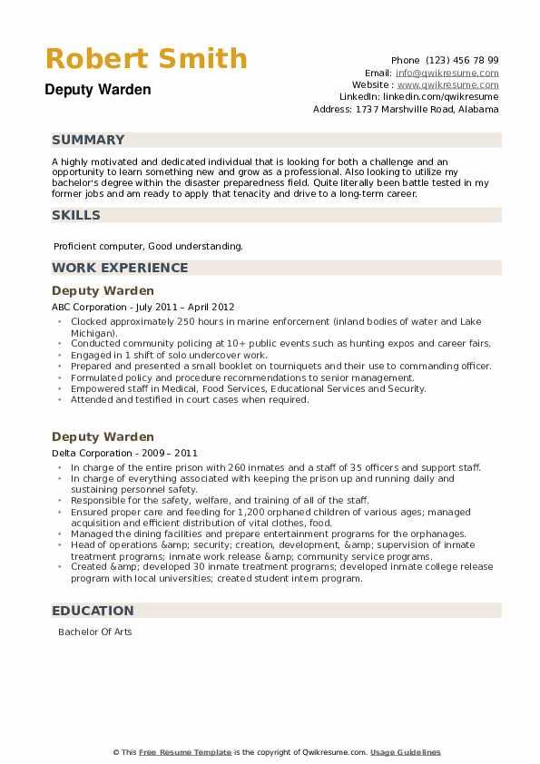 Deputy Warden Resume example