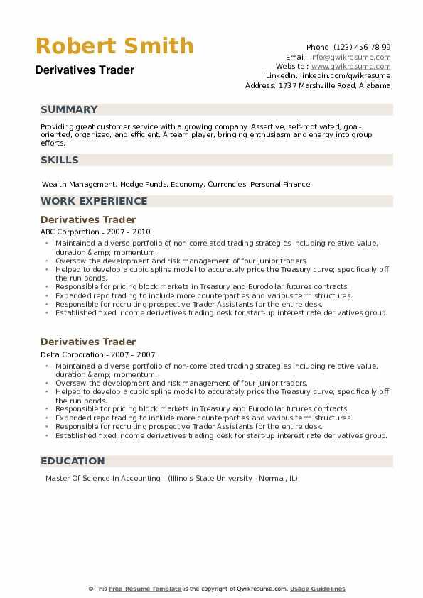 Derivatives Trader Resume example