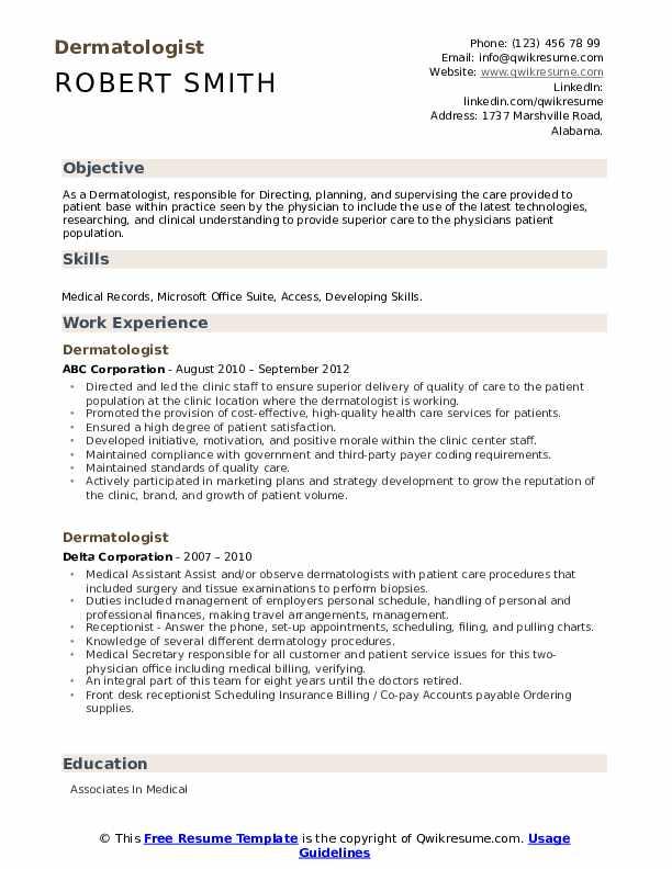 Dermatologist Resume example