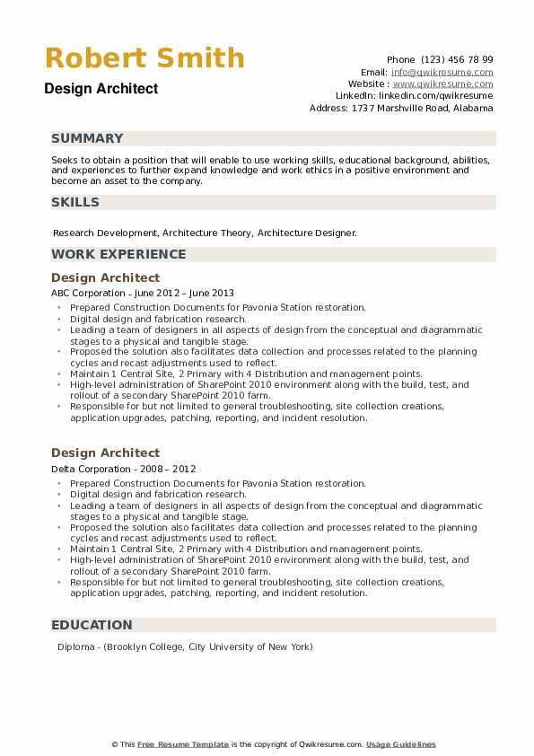 Design Architect Resume example