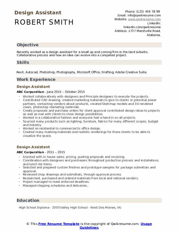 Design Assistant Resume Format