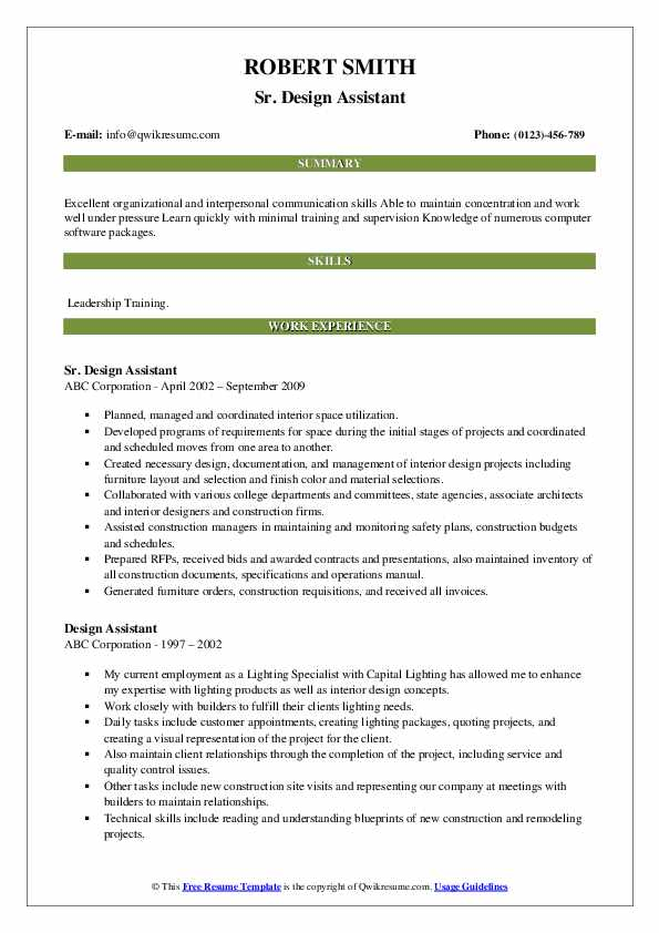 Sr. Design Assistant Resume Format