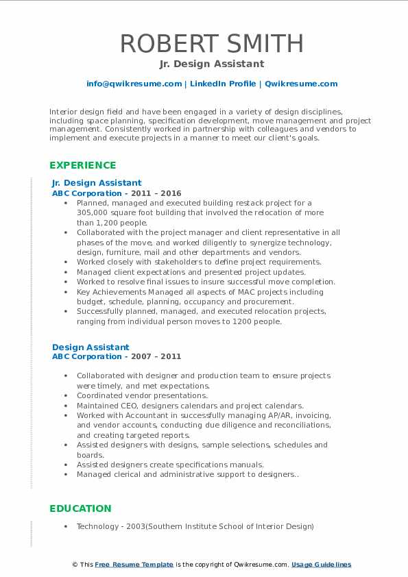 Jr. Design Assistant Resume Format