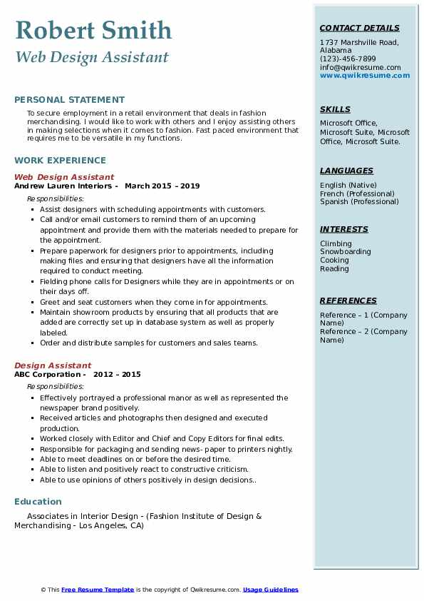 Web Design Assistant Resume Sample