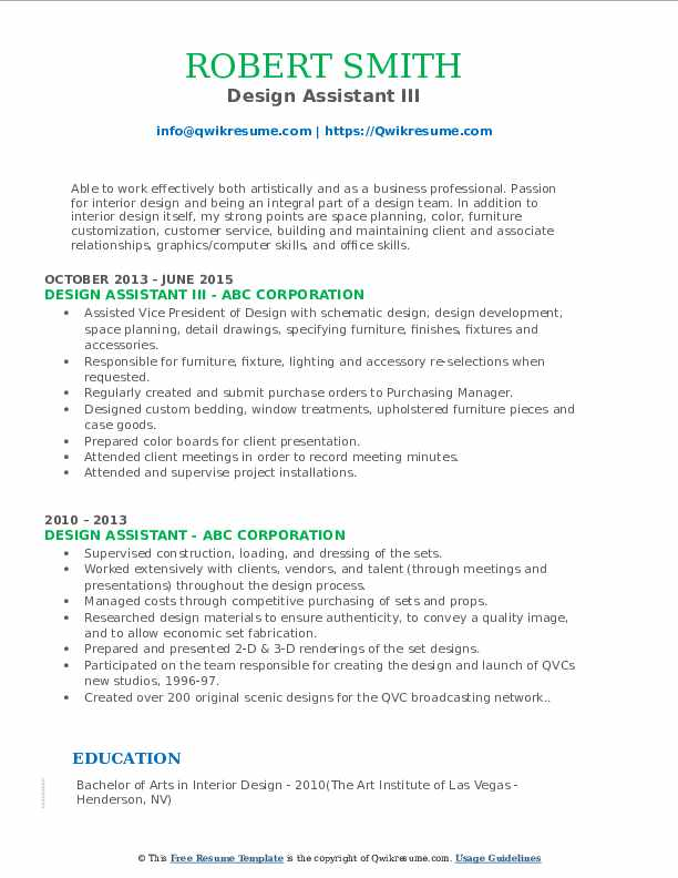 Design Assistant III Resume Model