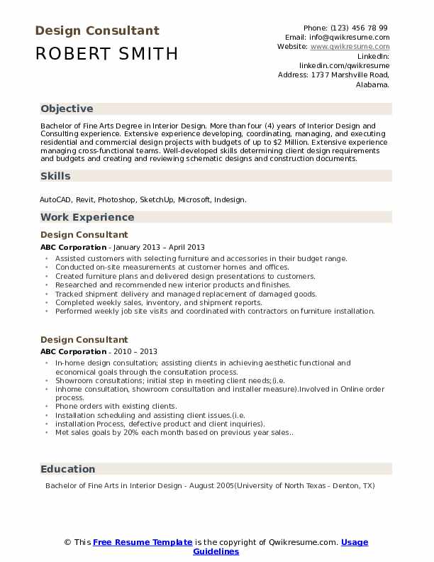 Design Consultant Resume Samples Qwikresume