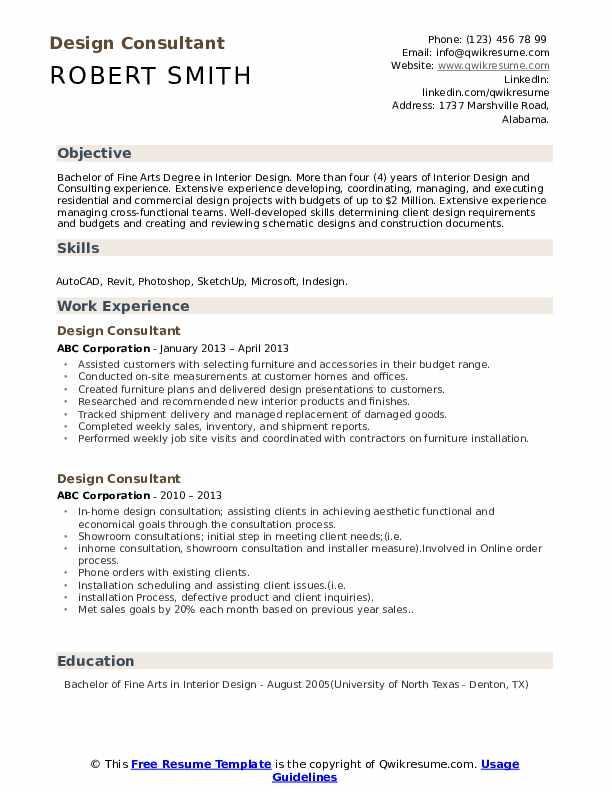 Design Consultant Resume Format
