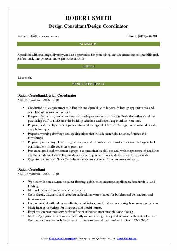 Design Consultant/Design Coordinator Resume Sample