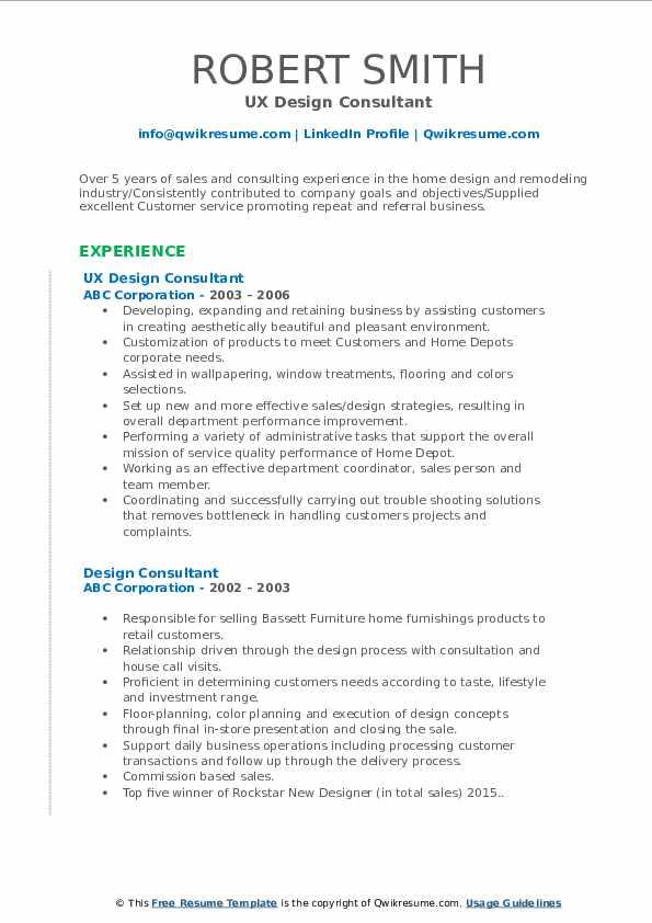 UX Design Consultant Resume Sample