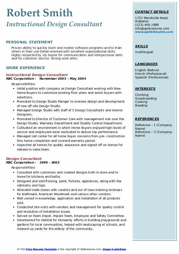 Instructional Design Consultant Resume Template