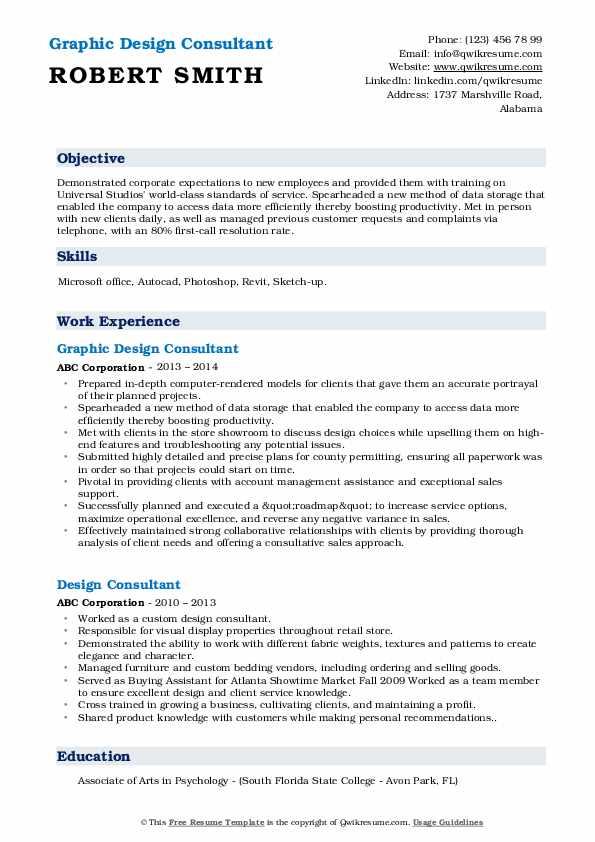 Graphic Design Consultant Resume Model