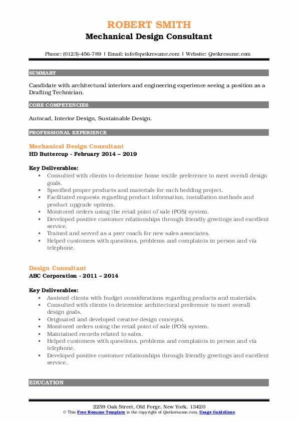 Mechanical Design Consultant Resume Sample