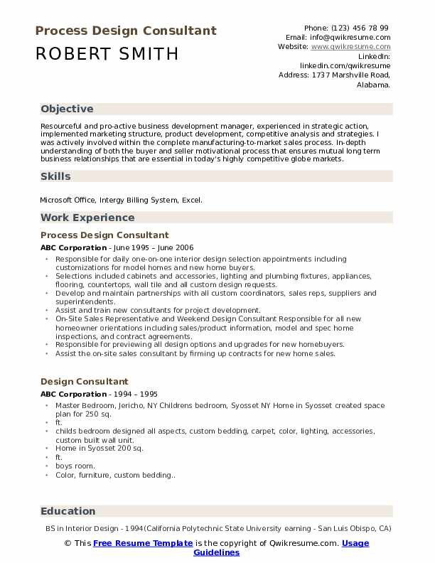 Process Design Consultant Resume Model