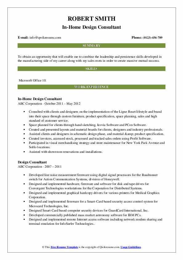 In-Home Design Consultant Resume Example