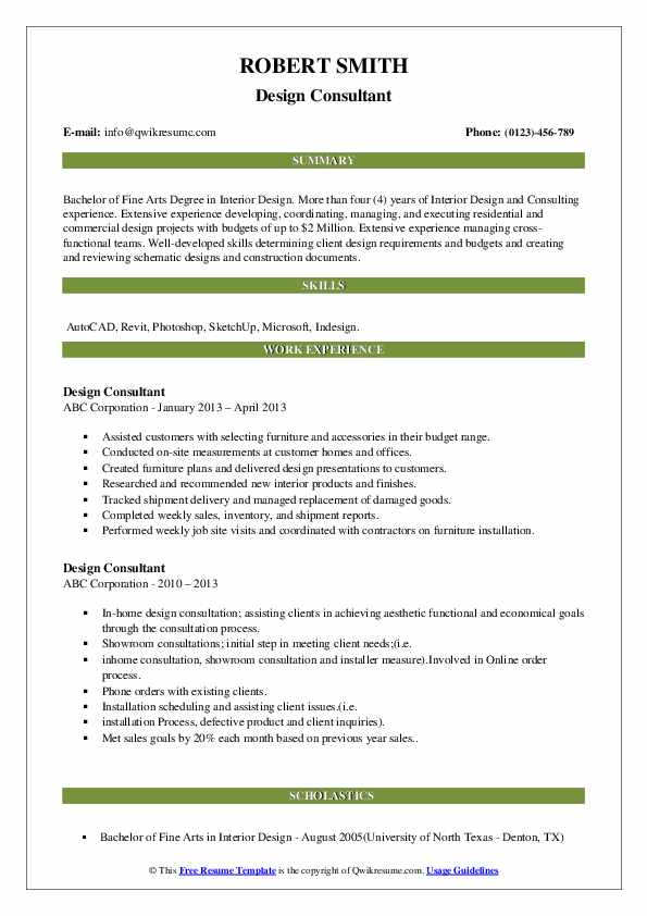 Interior Designer Resume Samples Qwikresume