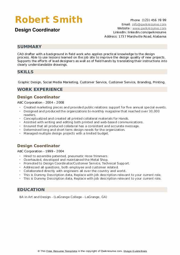 Design Coordinator Resume example