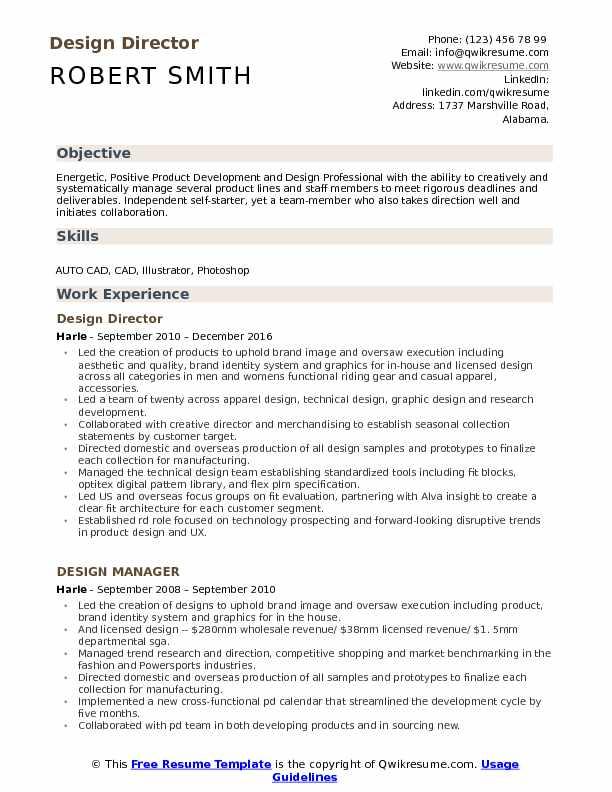 Design Director Resume Example