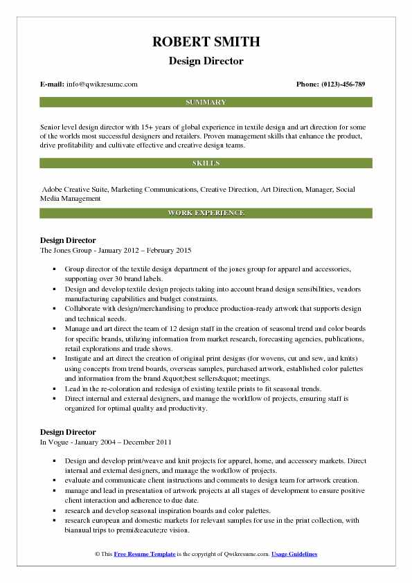 Design Director Resume Example