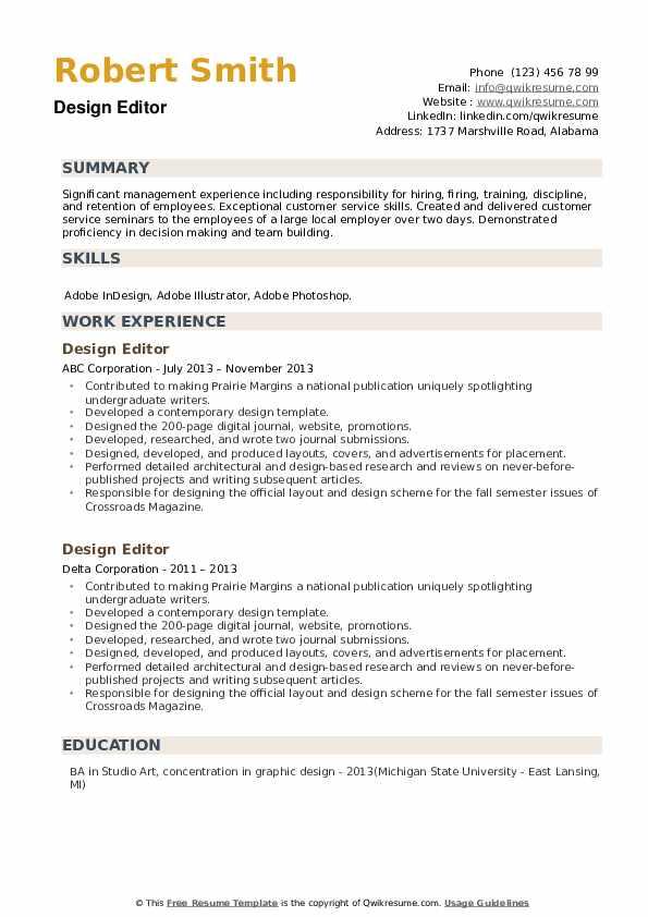 Design Editor Resume example