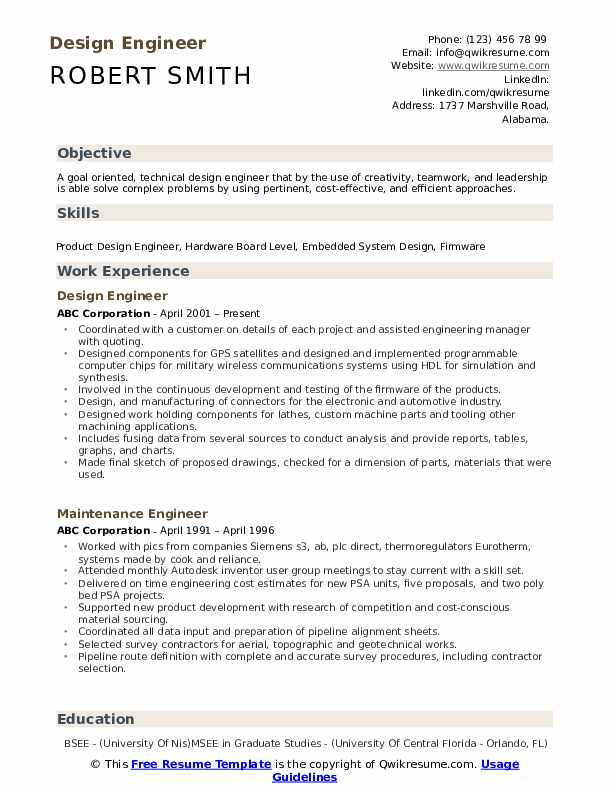 Design Engineer Resume Samples Qwikresume