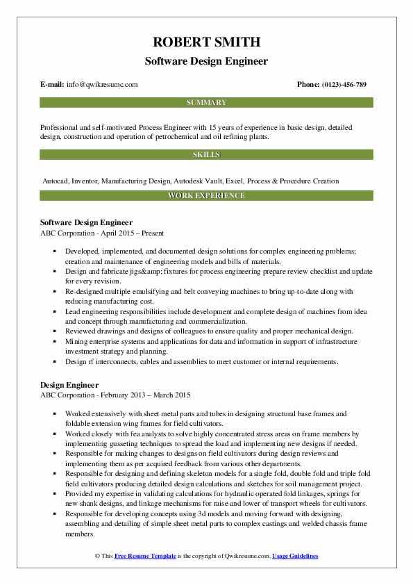 Software Design Engineer Resume Format