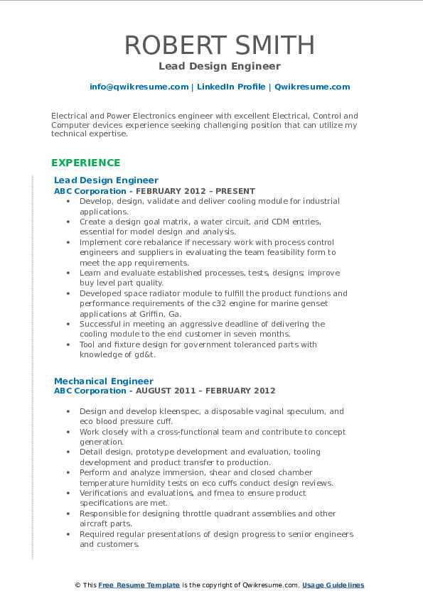 Lead Design Engineer Resume Format