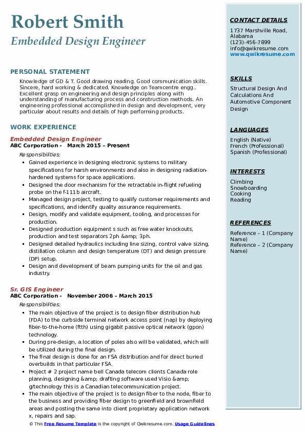 Embedded Design Engineer Resume Format