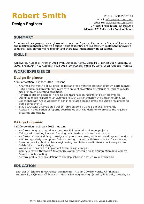 design engineer resume samples