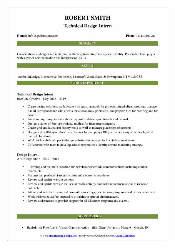 Technical Design Intern Resume Example