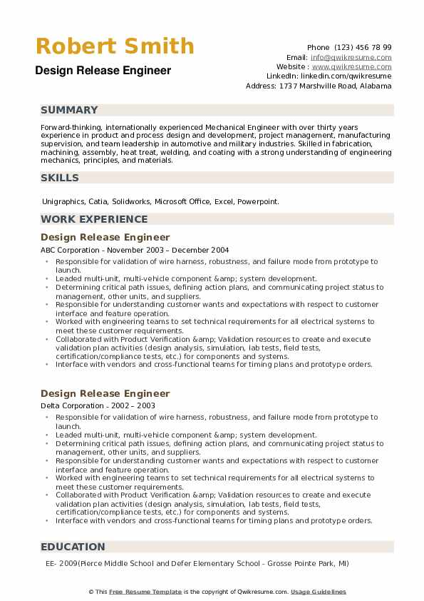 Design Release Engineer Resume example