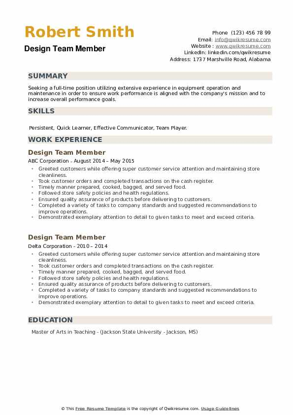 Design Team Member Resume example