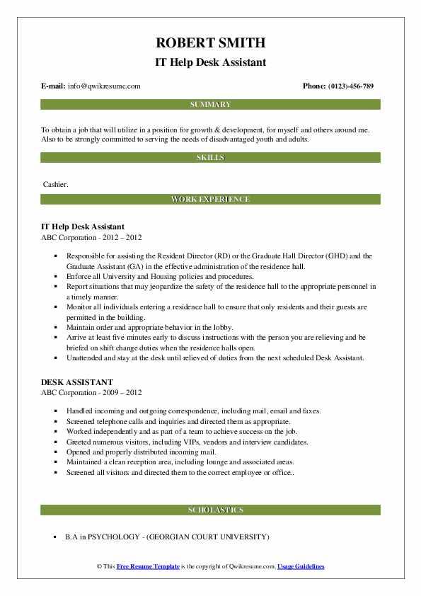 IT Help Desk Assistant Resume Sample