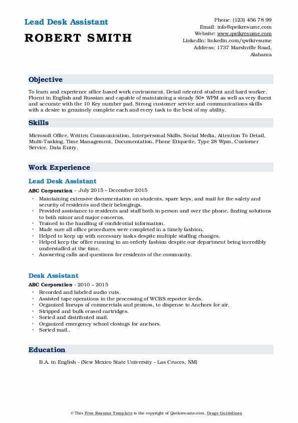Lead Desk Assistant Resume Sample