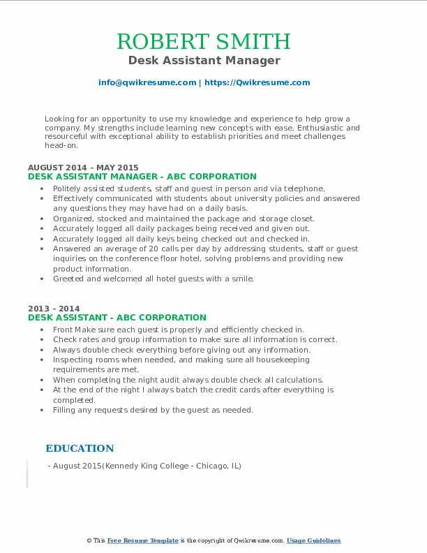 Desk Assistant Manager Resume Format